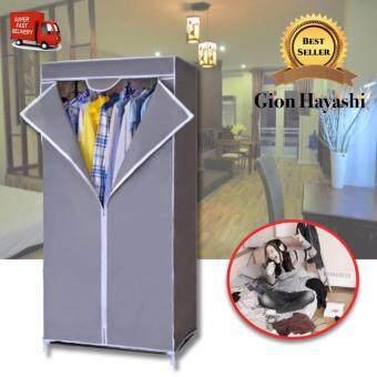 Banzai - ตู้เสื้อผ้าพร้อมช่องเก็บของ ผ้าคลุมกันน้ำ บล็อคเดี่ยว(สีเทา)