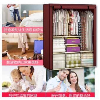 BanZai ตู้เสื้อผ้า 2 บล็อคเปิดข้าง พร้อมผ้าคลุม (สีเลือดหมู) ดีไหม