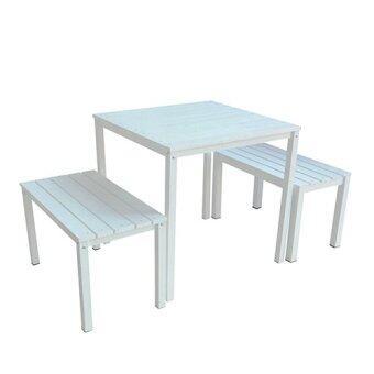 BH ชุดโต๊ะสนาม+เก้าอี้2ตัว รุ่นLayer (สีขาว)