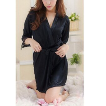 blackhorse Women 's Summer Bathrobes Set - Black - intl