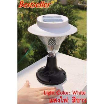 BULEKEM Solar โคมไฟหัวเสา พลังงานแสงอาทิตย์ 30 LED (ขาว)