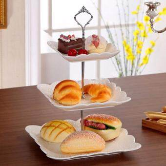 Cake Holder 1 Sets 3 Tier Cake Plate Stand Handle Crown FittingMetal Wedding Party without the plate (Silver) - intl