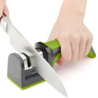 Central Home and Kitchen ที่ลับมีดแบบสองความละเอียดพร้อมด้ามจับถนัดมือ (สีเขียว)