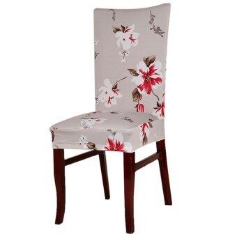 รีวิว Chair Cover Home Decoration Suitable for Home Office Hotel Fashionable - Light Gray Hibiscus - intl