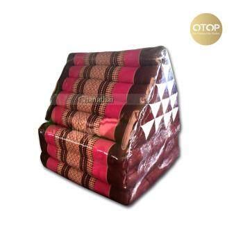 Chanathai ที่นอนนุ่น หมอนอิงพร้อมเบาะนอน หมอนสามเหลี่ยม 15ช่อง 3 พับ ขนาด 190x55x36 cm. (สีชมพู)