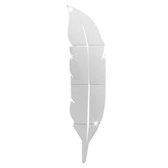 CHEER Beautiful Feather Shape Wall Sticker Home 3D Mirror Wall Decorative Stickers 18*73CM - intl