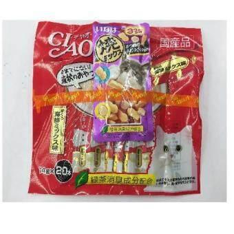 CIAO ขนมแมวเลีย ชูหรู ปลาทูน่าเนื้อขาว จำนวน 20 ซอง ( 4 units ) แถม 4 ห่อเล็ก