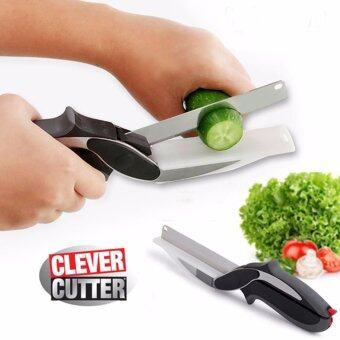 ต้องการขายด่วน CLEVER CUTTER KITCHEN มีดพร้อมเขียงในตัว 2 in 1 ด้ามจับสีดำ