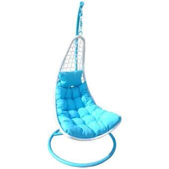CONRAD MODERN HOME เก้าอี้แขวน กระเช้าแขวน หวายขาว รุ่น FSS-1D011(สีฟ้า)