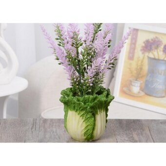 Creative small potted flowers lavender flowers artificial flower suit office living room bedroom TV cabinet green plants decoration resin crafts - intl