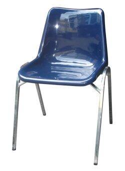 DAISO เก้าอี้พลาสติกโพลี ขาเหล็กชุบ รุ่น CD-25 (สีน้ำเงิน)