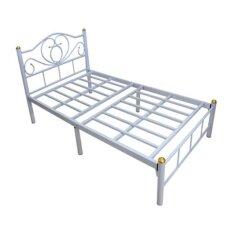 DAXTON เตียงเหล็กพับ Epoxy ขนาด3.5ฟุต ขาเหล็กหนา2นิ้ว รุ่น Crunch Up White เป็นขนาดมาตฐาน