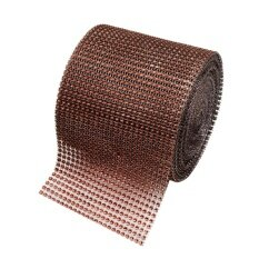 Diamond Rhinestone Ribbon Wrap Bulk 4.6 inches width,Wedding Party Decorations Color:Brown Size:2 yards - intl