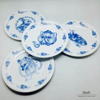 DinFi Premiere Porcelain ชุดจานเซรามิก สกรีนลาย Pom the Queen SidePlate SET 4 ชิ้น