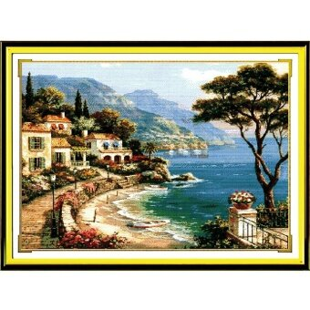 DIY Pre-Printed Fabric Counted Cross Stitch Kit Pre-Printed Pattern Needlework 14CT - Harbor Of Love F019 - intl