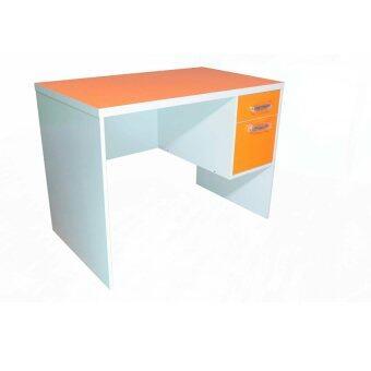 DSB Decor โต๊ะทำงานหน้าท๊อป PVC ขนาด 100cm (สีส้ม/ขาว) รุ่นTZ-117