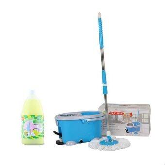 Easy mop ชุดถังปั่น รุ่น QQ STAINLESS (Blue) +ฟรี น้ำยาถูพื้น 1 ลิตร