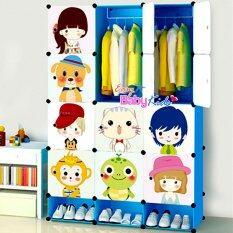 EasyBabykids ตู้เสื้อผ้าเด็ก DIY ลายการ์ตูน+ที่เก็บรองเท้า แบบ 12 ช่อง (สีฟ้า)