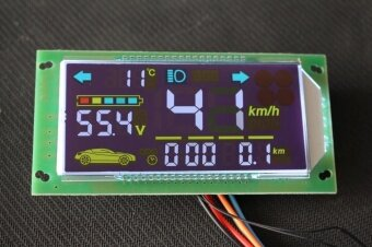 Electric car battery car LCD meter power meter speed mileage accumulation gear temperature time color table motor driver board - intl