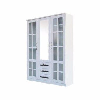 ENZIO ตู้เสื้อผ้า 4.5 ฟุต 3 ลิ้นชัก ประตูตารางกระจกลายผ้า สีขาว รุ่น JAPAN GROOVE (White) (ส่งกรุงเทพฯและปริมณฑลเท่านั้น)