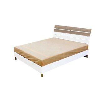 ENZIO เตียงนอนขาลอย ขนาด 6 ฟุต รุ่น London 6 (สีขาว/คาร์ปูชิโน่)(ส่งกรุงเทพฯและปริมณฑลเท่านั้น)