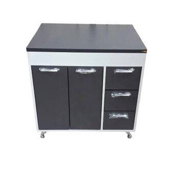 ENZIO Counterตู้ครัวเมลามีน80x60x84 รุ่น Delight D-80 (White/Graphite)