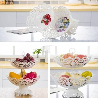 EsoGoal Fruit Plate 2 Tier Hollow Plate for Fruits Cakes DessertsCandy Buffet Stand for Home & Party - intl - 3