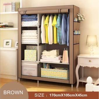 ETC Wardrobe ตู้เสื้อผ้า 2 บล็อค พร้อมผ้าคลุม(สีน้ำตาล) - ไซส์ใหญ่
