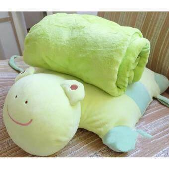 FFF-006 หมอนผ้าห่ม ตัวการ์ตูนน่ารัก สีเขียว