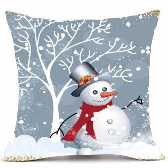 Finleystore Merry Christmas Pillow Cases Super Cashmere Sofa Cushion Cover Home Decor - intl