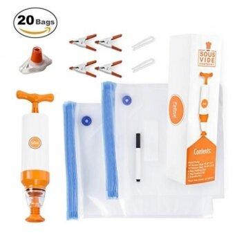 FoReal Design Sous Vide Bags Kit for Anova and Joule - 20 Reusable BPA Free Sous Vide Bags 1 Hand Pump 2 Bag Sealing Clips ous Vide Clips1 Erasable Marker1 Wine Bottle SealerE-Cookbook - intl