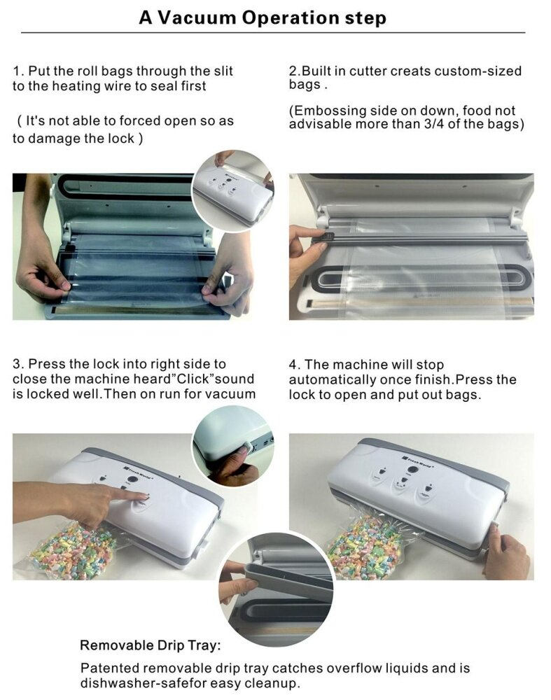 Fresh World Household Automatic Vacuum Sealer Packaging Machine Packer Food Saver Sealing
