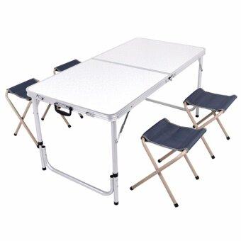GALAXY โต๊ะสนาม อลูมิเนียม แบบพับได้ พร้อมเก้าอี้พับได้ 4 ตัว ขนาด120 x 60 cm (FLORAL DESIGN) สีขาว