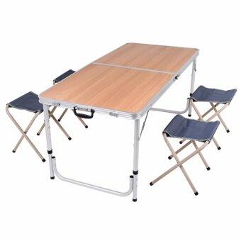 GALAXY โต๊ะสนาม อลูมิเนียม แบบพับได้ พร้อมเก้าอี้พับได้ 4 ตัว ขนาด120 x 60 cm (WOONDEN COLOR) สีน้ำตาล