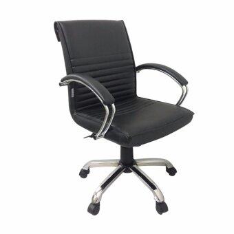 Gindex เก้าอี้สำนักงาน มีสวิงปรับโยก ปรับระดับได้ รุ่น CO006S-B (สีเบาะดำ/ขาชุป)
