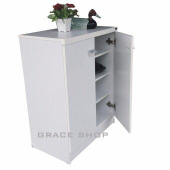 Grace shop ตู้วางรองเท้า รุ่น Shoes 60 มีบานเปิดปิด 4 ชั้น รุ่นMimi (สีขาว) - 3