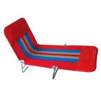 GraceShop เตียงสนาม 3 พับ ผ้าขนปุย ปรับเอนนอนได้ 3 ระดับ(สีแดง)