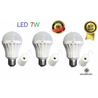 (ของแท้) HAGI หลอดไฟอัจฉริยะ / หลอดไฟฉุกเฉิน LED 7W แสงขาว / LEDEmergency Bulb (E27) /(3 หลอด)