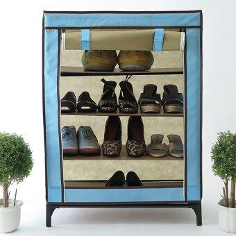 Hako ตู้วางรองเท้า Shuu Classic Blue ขนาด 60 x 33 x 80 ซม. (สีฟ้าสลับสีน้ำตาลกาแฟ)