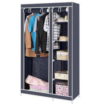 Hakone ตู้เสื้อผ้า 2 บล๊อค พร้อมชั้นวางของ 5 ชั้น มัลติฟังก์ชั่น(สีเทา) รีวิว