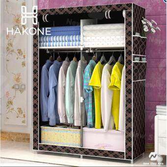 Hakone ตู้เสื้อผ้า 2 บล็อค สีดำลายตาราง รุ่น GY-04