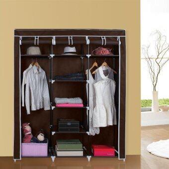 Hakone ตู้เสื้อผ้า พร้อมช่องเก็บของมีผ้าคลุม 3 บล็อค สีน้ำตาล รุ่น 3 Block