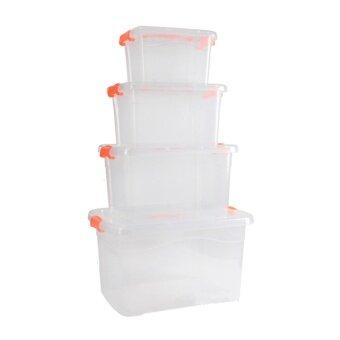 อยากขาย Hakone กล่องพลาสติก กล่องเก็บของ กล่องเก็บของมีฝาปิด กล่องพลาสติกเก็บของ ชุดกล่องเก็บของอเนกประสงค์ กล่องพลาสติกเก็บของ 4 ใบ