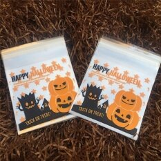 Halloween Theme Cookie Packaging Colorful Bottles Self-adhesive Plastic Bags Style10*10+3 - intl
