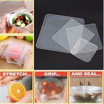 Harga Hanyu 4Pcs Kitchen Multifunctional Silicone Fresh Bowl SealableCover Fresh Food Storage Seal Cover(White) - intl