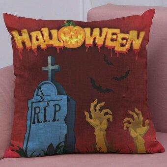 Happy Halloween Linen Throw Pillow Case Cushion Cover Home Sofa Decor New F - intl