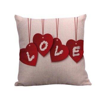 Happy Valentine Pillow Cases Linen Sofa Cushion Cover Home Decor Pillow Case - intl