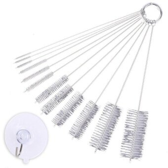 HappyLife 9.8 Inch 12 Pieces Nylon Tube Brush With Protective CapFordrinking Straws Glasses Keyboards Jewelry With 45MmTransparentsuction Cup Hook [White]