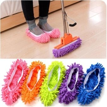 HappyLife A Pair Of Multi Function Chenille Fibre Washable Dust MopSlipperscleaning Shoe Lazy Shoe Covers