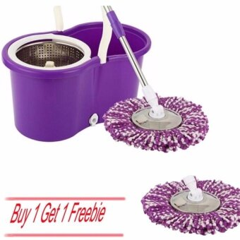 HappyLife Home Living Brooms Mops Sweepers 360 Rotating Magic Floor Spinningmicrofiber Spinning Anti-Odor Mold Replacement Mop Head Mop Head (Purple White )[Buy 1 Get 1 Freebie]